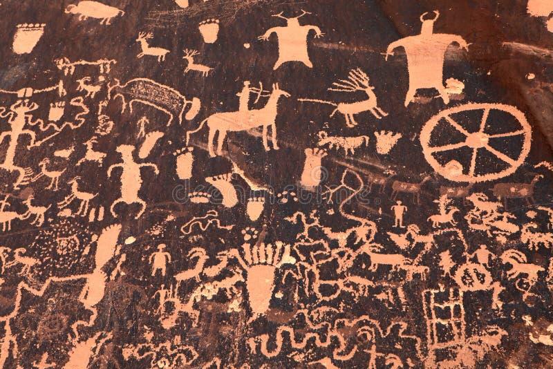 Petroglifo indio antiguo en Moab, Utah imagen de archivo