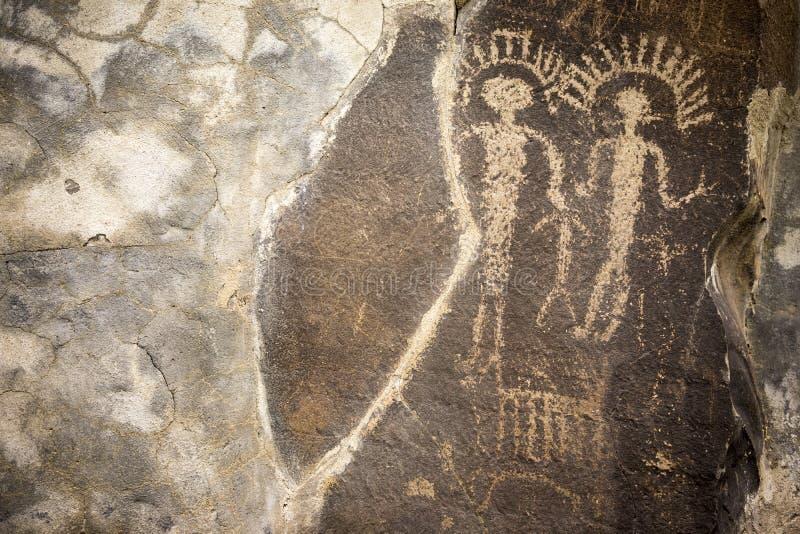 Petroglifos antiguos Cliff Drawings Ginko Petrified Forest Washington imagen de archivo