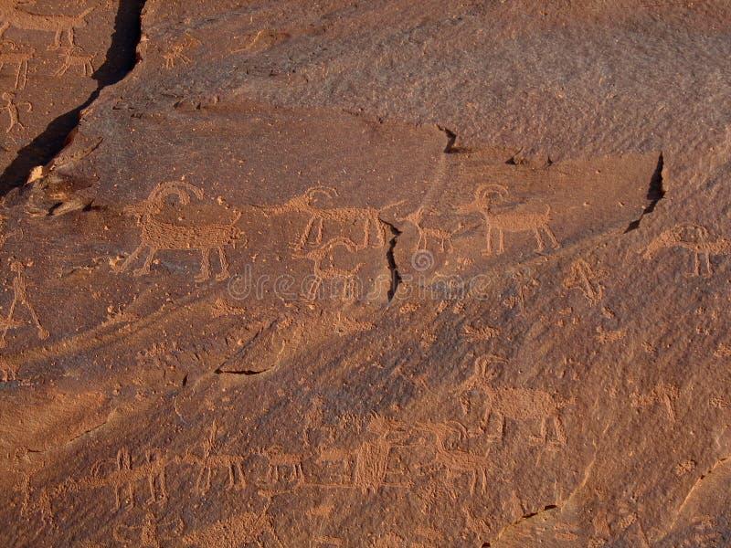 Petroglifos de la isla de la arena imagen de archivo