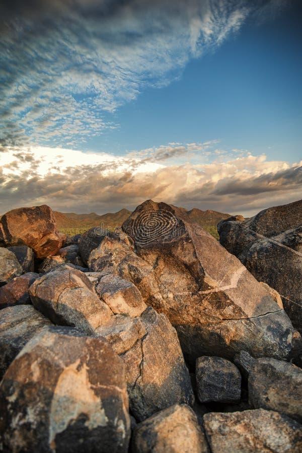 Petroglifos en parque nacional de Saguaro fotos de archivo libres de regalías