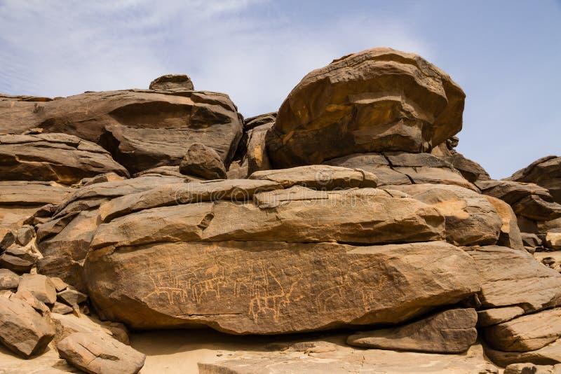 Petroglify przy Sabu Sudan obrazy stock
