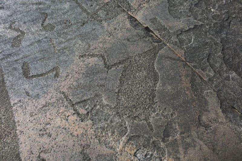 Petroglyphälg på den uddeBesov näsan Vagga målningar av Lake Onega royaltyfria foton