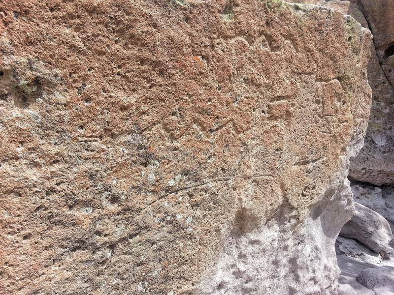 Petroglyph αμερικανών ιθαγενών Νέο Μεξικό Tsankawe στοκ φωτογραφία με δικαίωμα ελεύθερης χρήσης