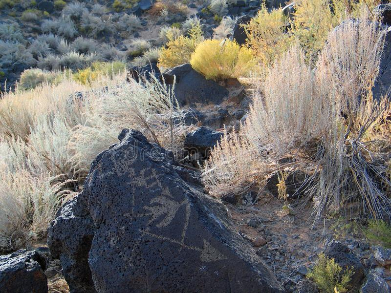 Petroglyph National Monument in New Mexico. Beyond the Rio Grande, Albuquerque is bordered on the west side by a low, barren, volcanic plateau West Mesa - 200 royalty free stock images