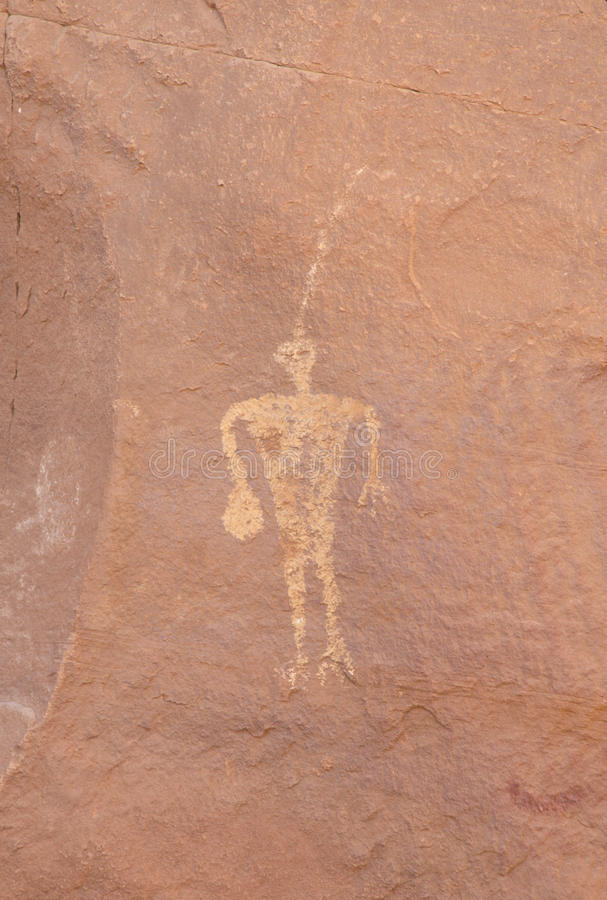 Petroglyph of the Navajo Nation, circa 1200-1300 AD, Mystery Valley Indian Ruins, Monument Valley, AZ stock image