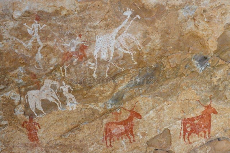 Petroglyphen - Akakus (Acacus) Berge, Libyen stockfotos