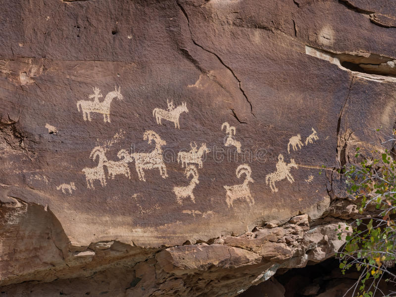 Petroglyphs in Arches national monument, Utah. USA royalty free stock photos