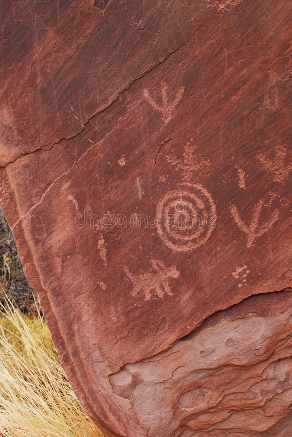 Petroglyphs carved on the rock, Native Americans. In Zion National Park, Utah, USA stock image