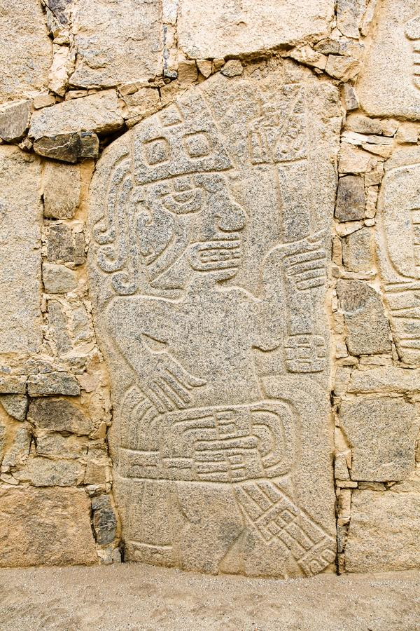 Petroglyphs or carved stones. In the prehistoric settlement of Casma, Peru stock images