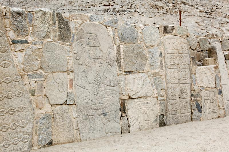 Petroglyphs or carved stones. In the prehistoric settlement of Casma, Peru stock photo