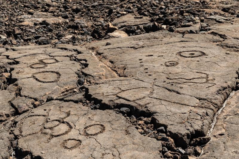 Petroglyphs carved in volcanic rock on King`s Trail, Kona, Hawaii stock images