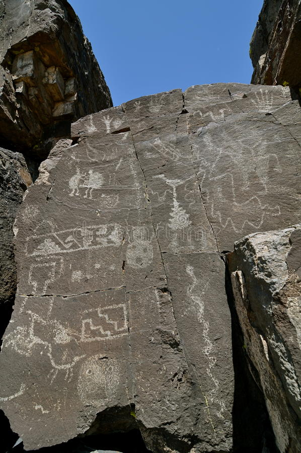 Petroglyphs Galisteo New Mexico 3. Roch drawings in the small village of Galisteo New Mexico.Excavations show a pueblo of 400 American Indian inhabitants several stock image