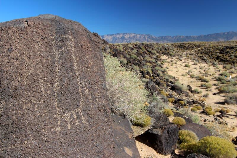 Petroglyphs, monumento nacional do Petroglyph, Albuquerque, New mexico fotografia de stock