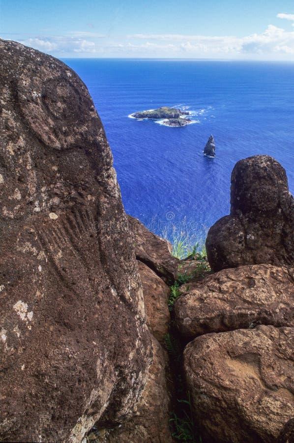 Petroglyphs and Motu Nui at Orongo of Easter Island, Chile. Petroglyphs and Motu Nui at Orongo of Easter Island in Chile stock photos