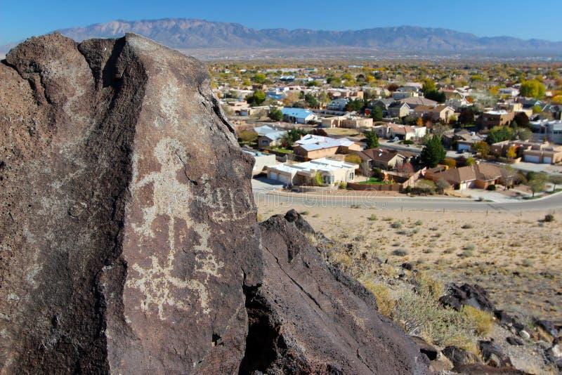 Petroglyphs nationell monument för Petroglyph, Albuquerque som är ny - Mexiko royaltyfria bilder