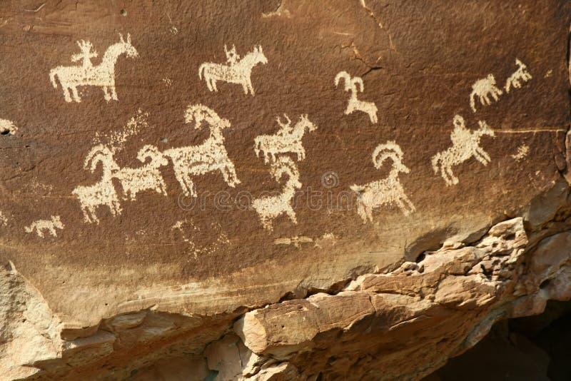 Petroglyphs nos arcos parque nacional, Utá imagem de stock