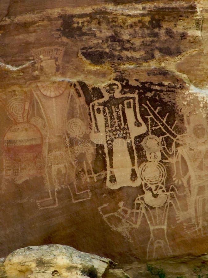 Petroglyphs på den McConkie ranchen nära Vernal, Utah arkivbild