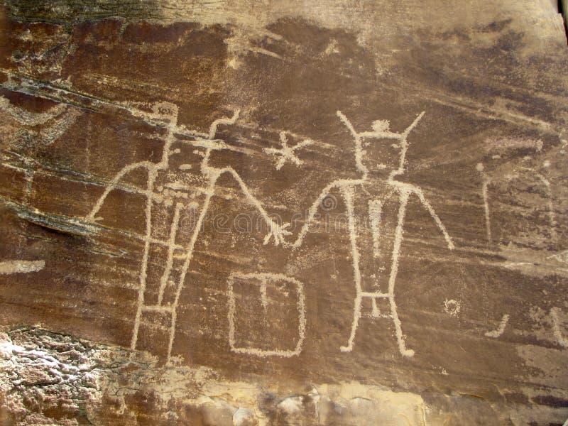 Petroglyphs på den McConkie ranchen nära Vernal, Utah royaltyfria foton