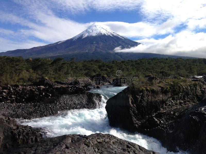 Petrohue nedgångar i Patagonia Chile royaltyfri bild