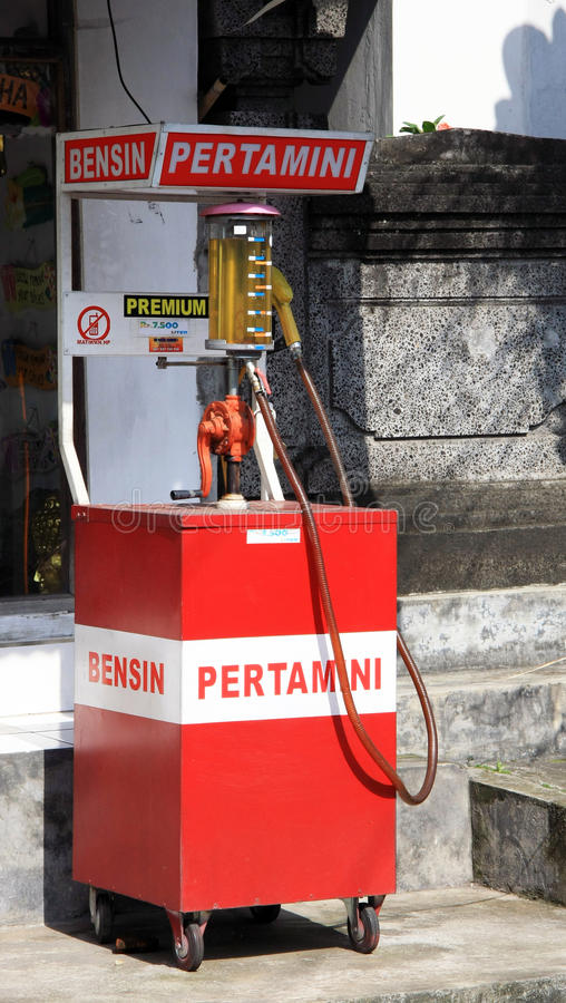 Petrol fueling station in Bali stock photos