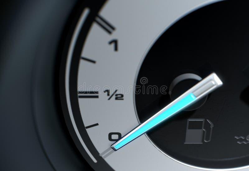 Petrol Gage Empty Blue Needle Empty stock illustration