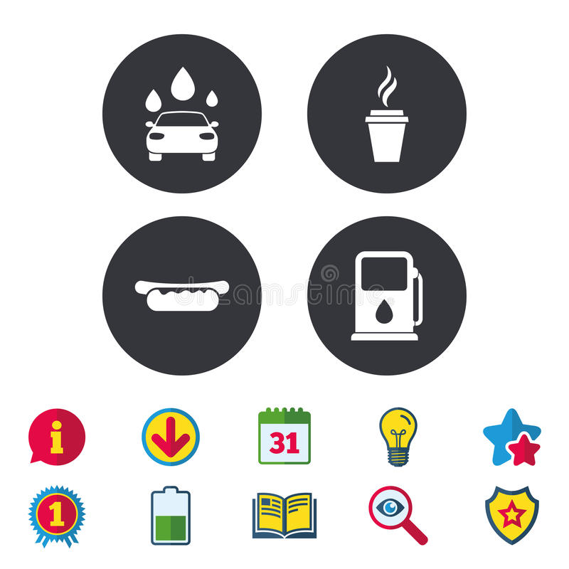Petrol Or Gas Station Services Icons Car Wash Stock Vector