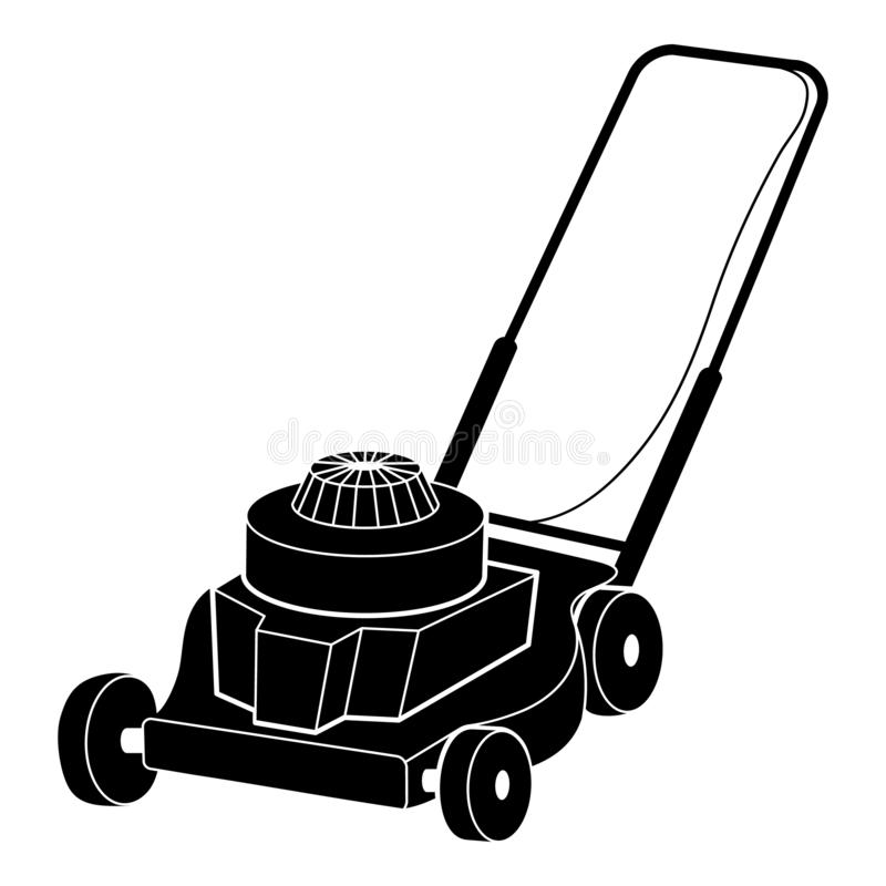 Petrol lawn mower icon, simple style vector illustration