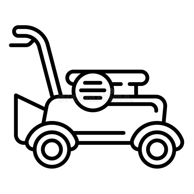 Petrol lawnmower icon, outline style stock illustration