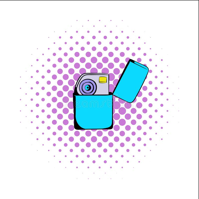 Petrol lighter comics icon. Isolated on a white background royalty free illustration