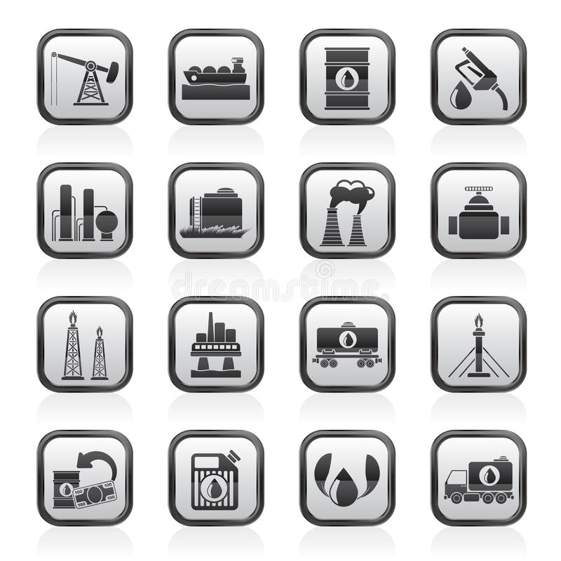 Petrol and oil industry icons. Vector icon set stock illustration