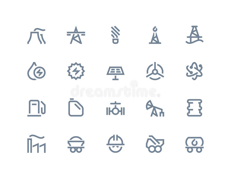 Petrol and power generation icons. Line series. Petrol and power generation icons set. Line series royalty free illustration
