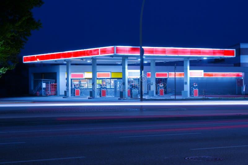 Petrol station. A petrol station at night royalty free stock photo