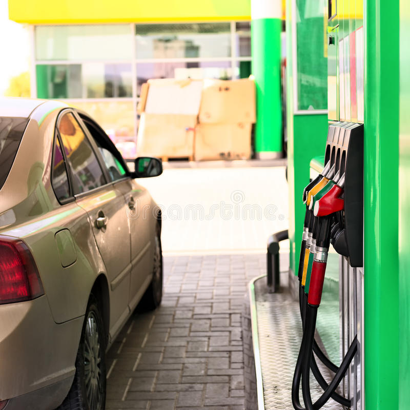 Petrol station. Car refueling on a petrol station royalty free stock image