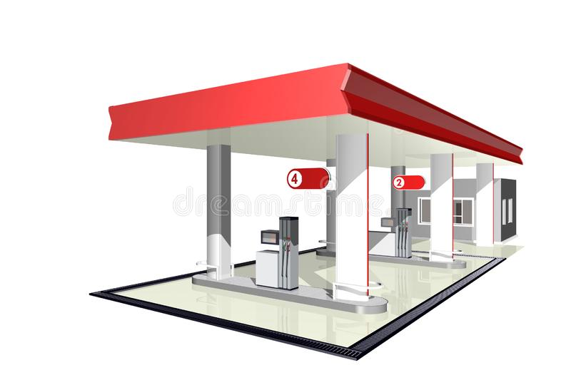 Petrol station. 3D illustration on white background. Gas station, fuel distribution front with canopy. 3D illustration on white background royalty free illustration