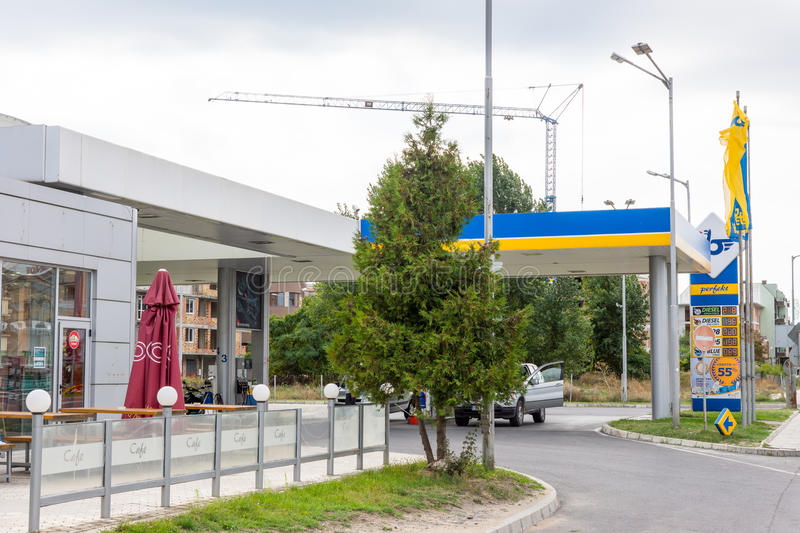 Petrol station at the entrance of Ravda in Bulgaria royalty free stock photo