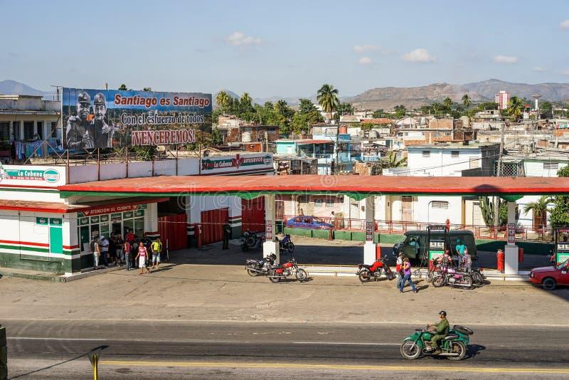 Petrol Station in Santiago De Cuba. Santiago de Cuba, Cuba - January 11, 2016: Typical scene of one of streets in the center of Santiago de cuba - Petrol stock image