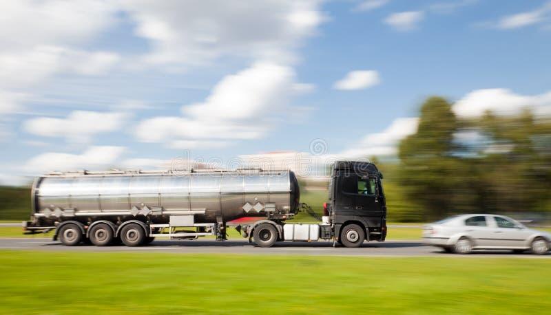Petrol tanker truck in motion blur. Petrol tanker truck in intentional panning motion blur royalty free stock image