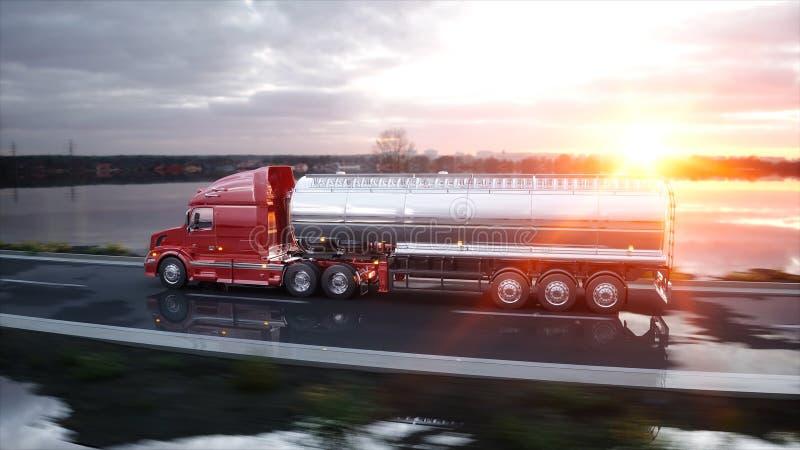 Petroleiro da gasolina, reboque do óleo, caminhão na estrada Condução muito rápida rendição 3d ilustração do vetor
