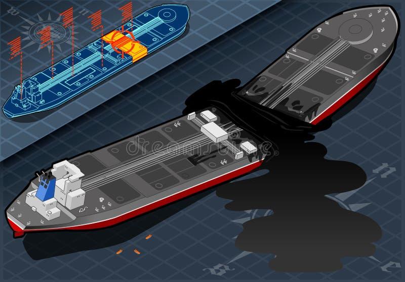 Petrolero isométrico de la nave destruido en dos porciones en vista posterior libre illustration