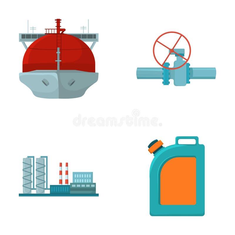 Petrolero, parada del tubo, refinería de petróleo, bote con gasolina Iconos determinados de la colección de la industria de petró stock de ilustración