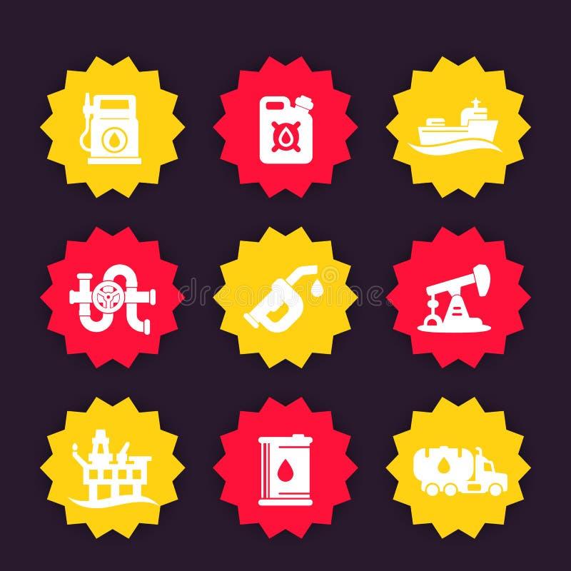 Petroleum industry icons royalty free illustration