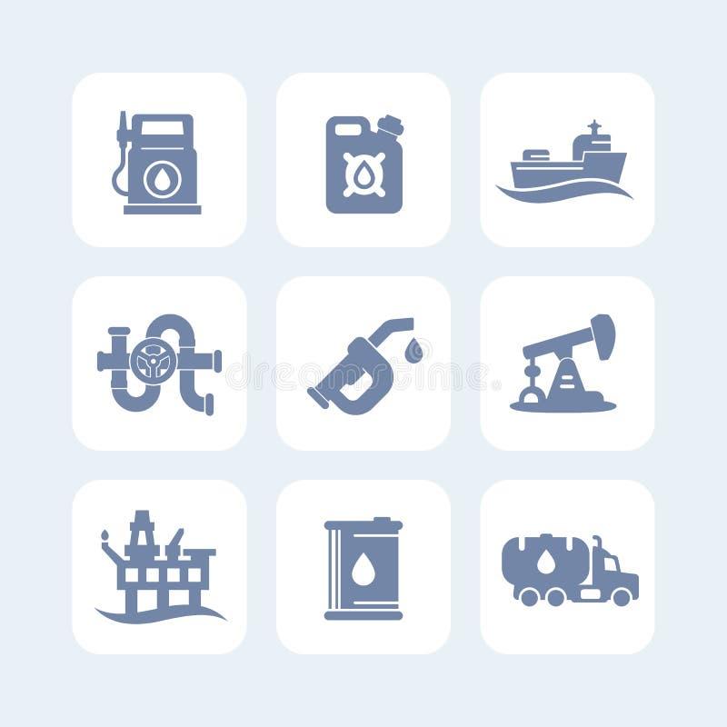 Petroleum industry icons set vector illustration