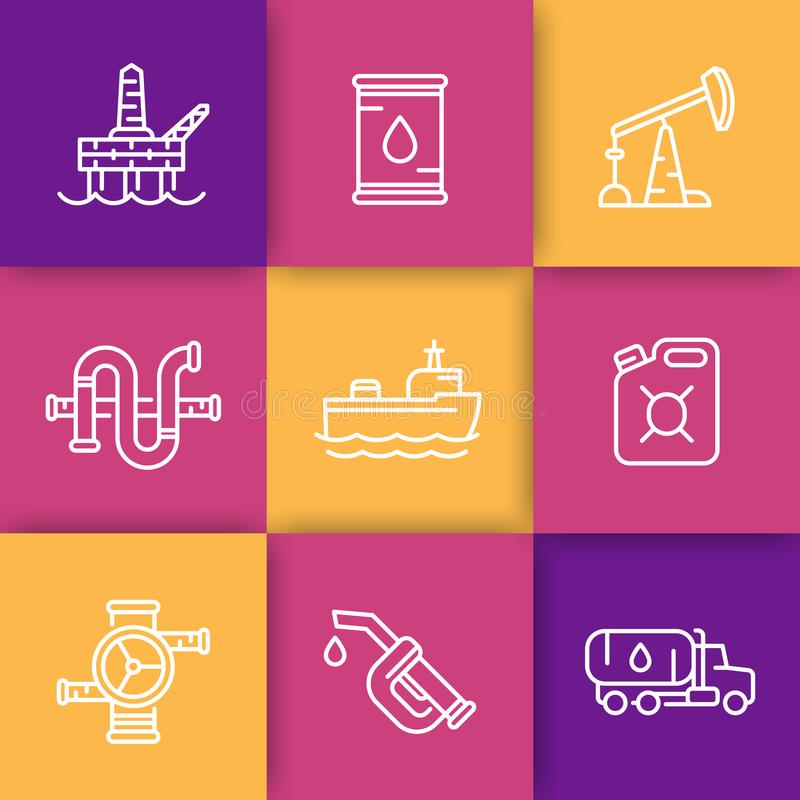 Petroleum industry line icons royalty free illustration