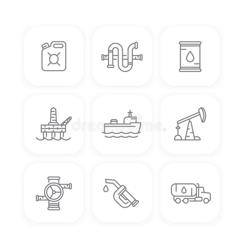 Petroleum industry line icons, oil, gas production stock illustration