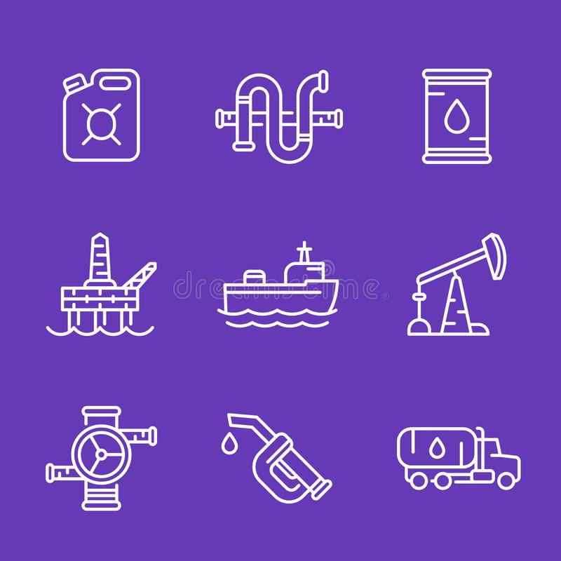 Petroleum industry, oil and gas production icons stock illustration