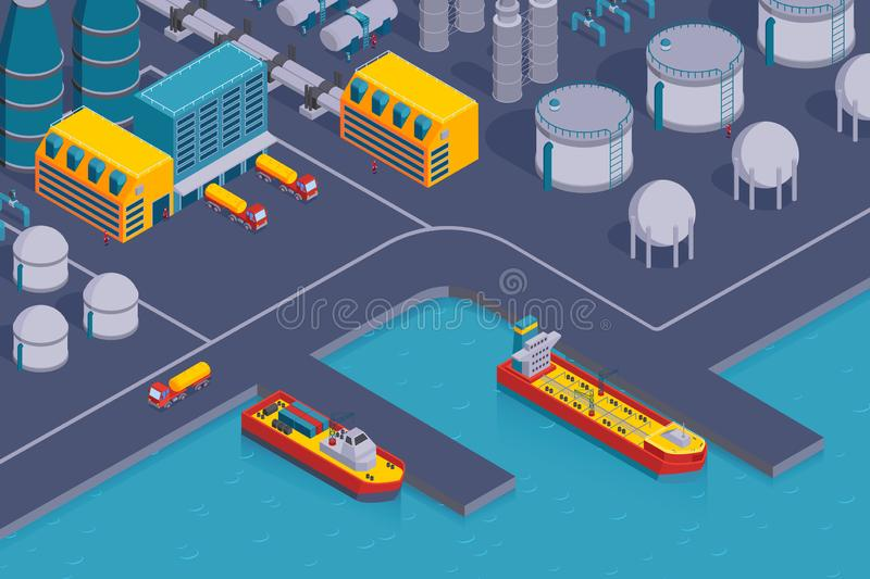 Petroleum Plant Harbor Composition. Isometric petroleum industry horizontal composition with view of coast station with plant buildings and cargo ships vector vector illustration