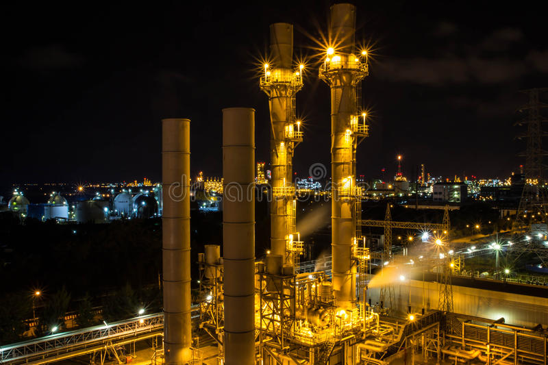 Petroleum refinery gasoline. During the night stock image
