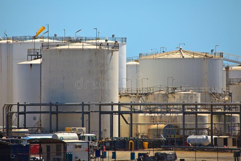 Petroleum Storage Tanks Brisbane harbor stock images