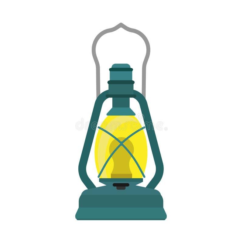 Petroleumlaternelampenentwurfsdekorations-Ausr?stungsbrennstoff Helle gealterte Lagerlichtweinlese-Vektorikone Kerosinnachtfeuer lizenzfreie abbildung