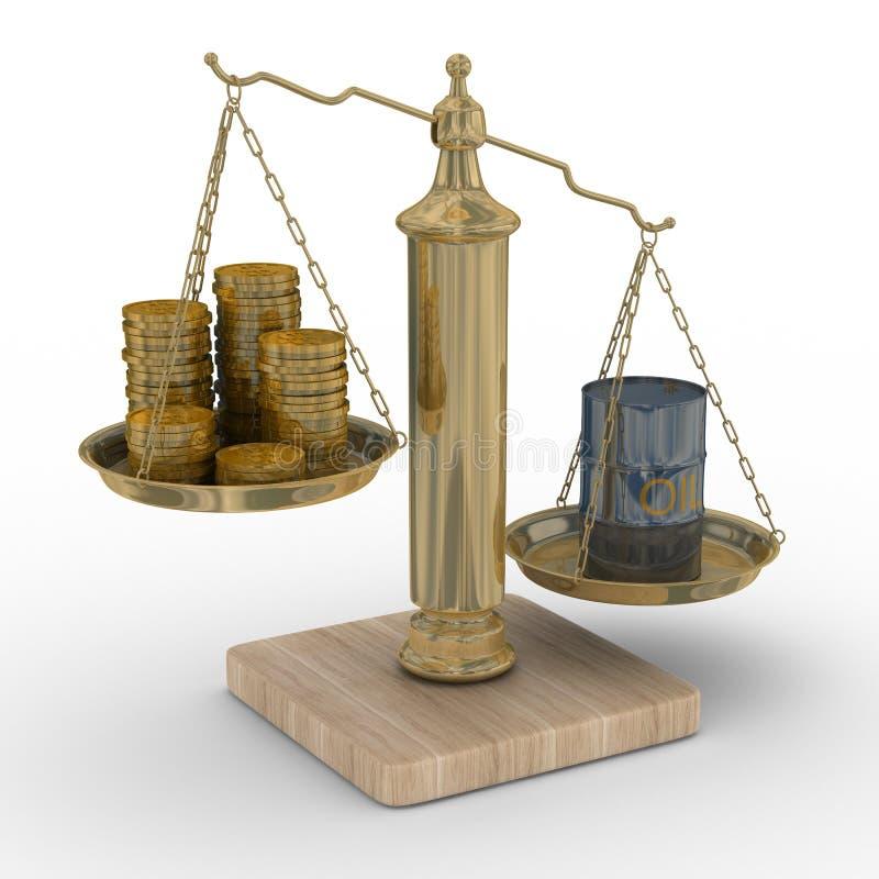 Petrolio e soldi per le scale illustrazione di stock